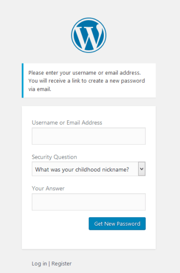 forget password page - How to Add Security Questions to WordPress Login Page