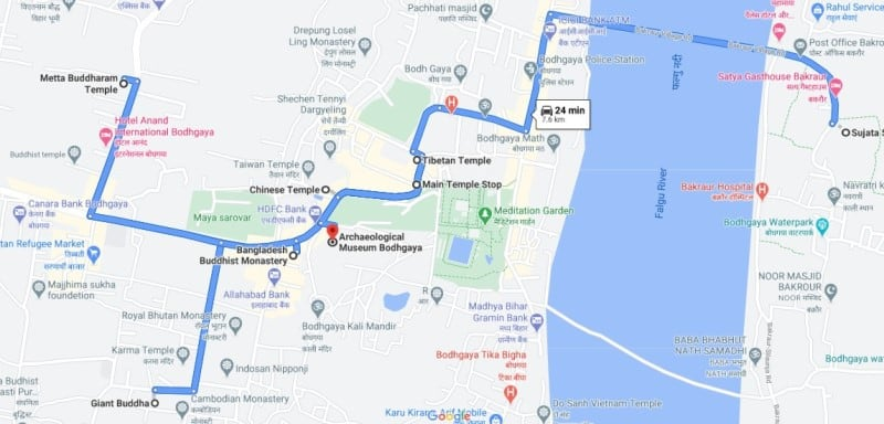 Buddhagaya tourist places map