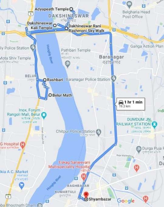 adyapith mandir to belur math map