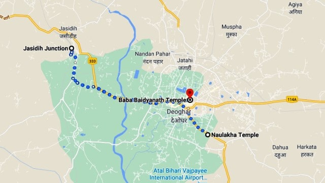deoghar to Naulakha mandir map