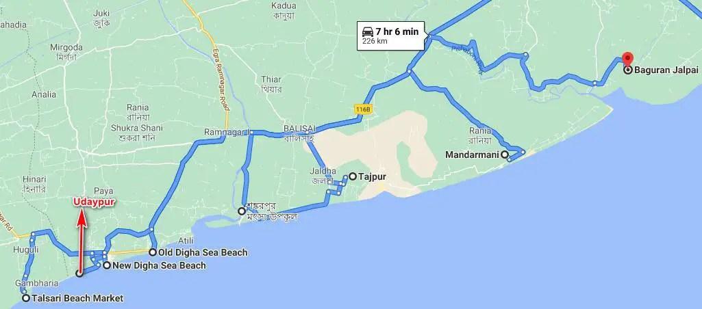 Digha sea beaches map