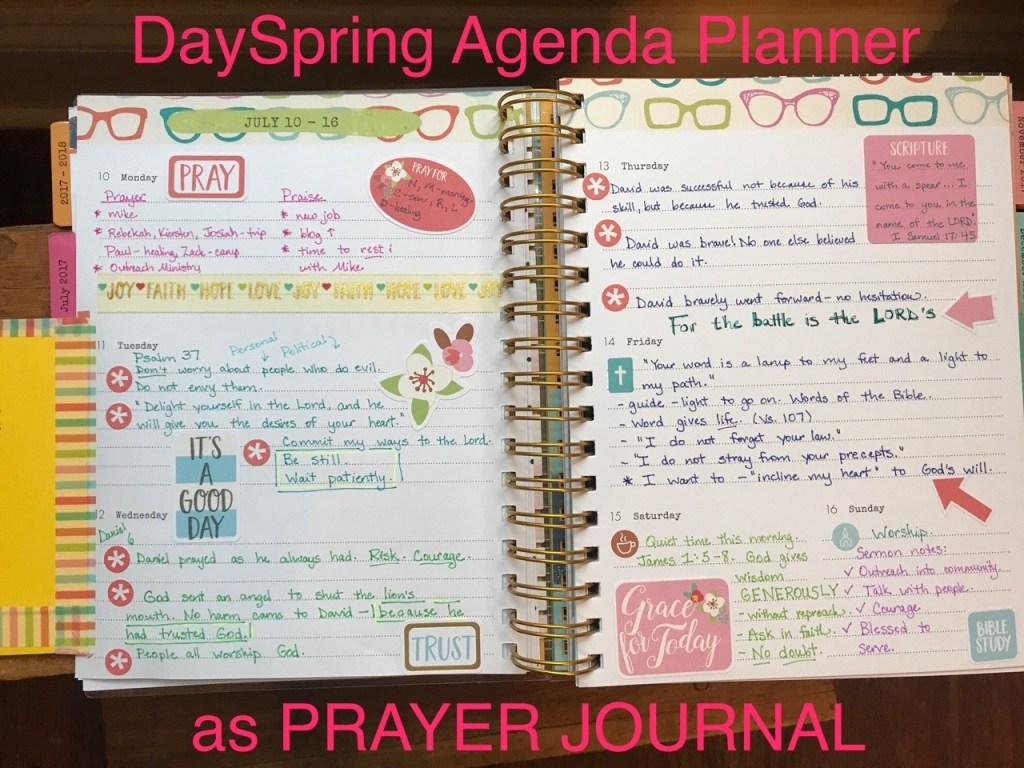 Dayspring Agenda Planner as prayer notebook