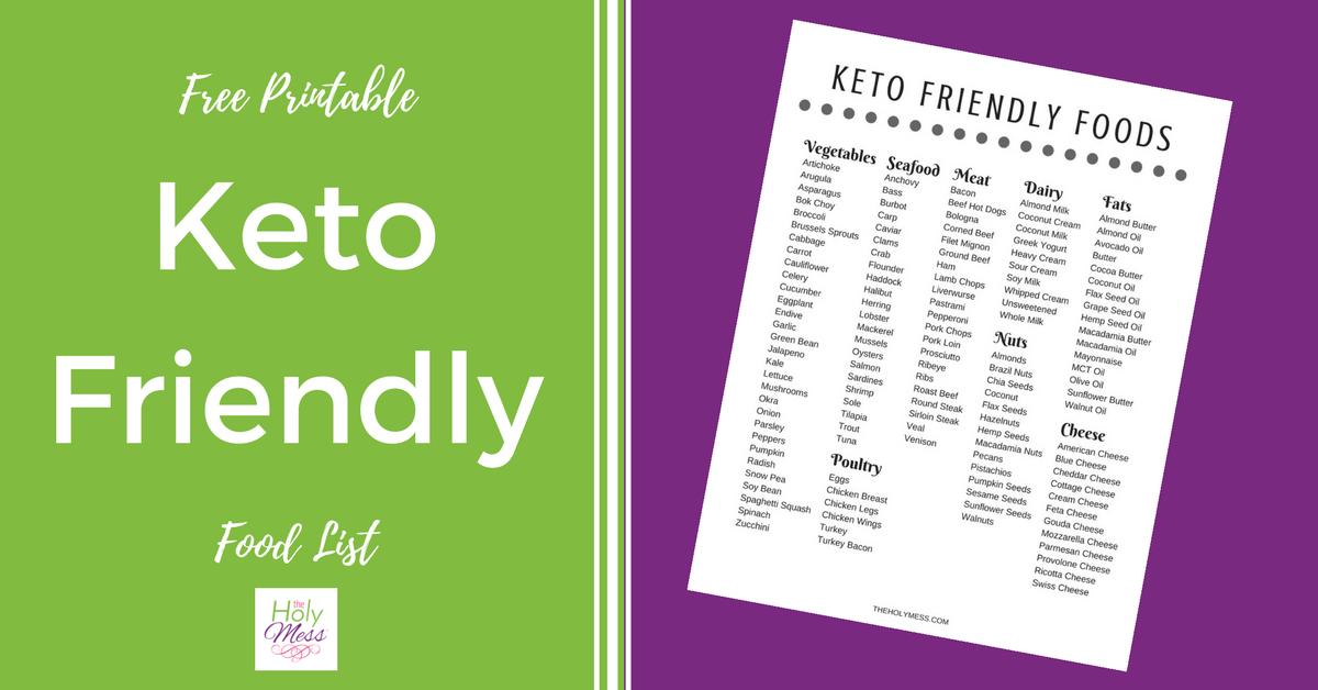Free Printable Keto Friendly Food List