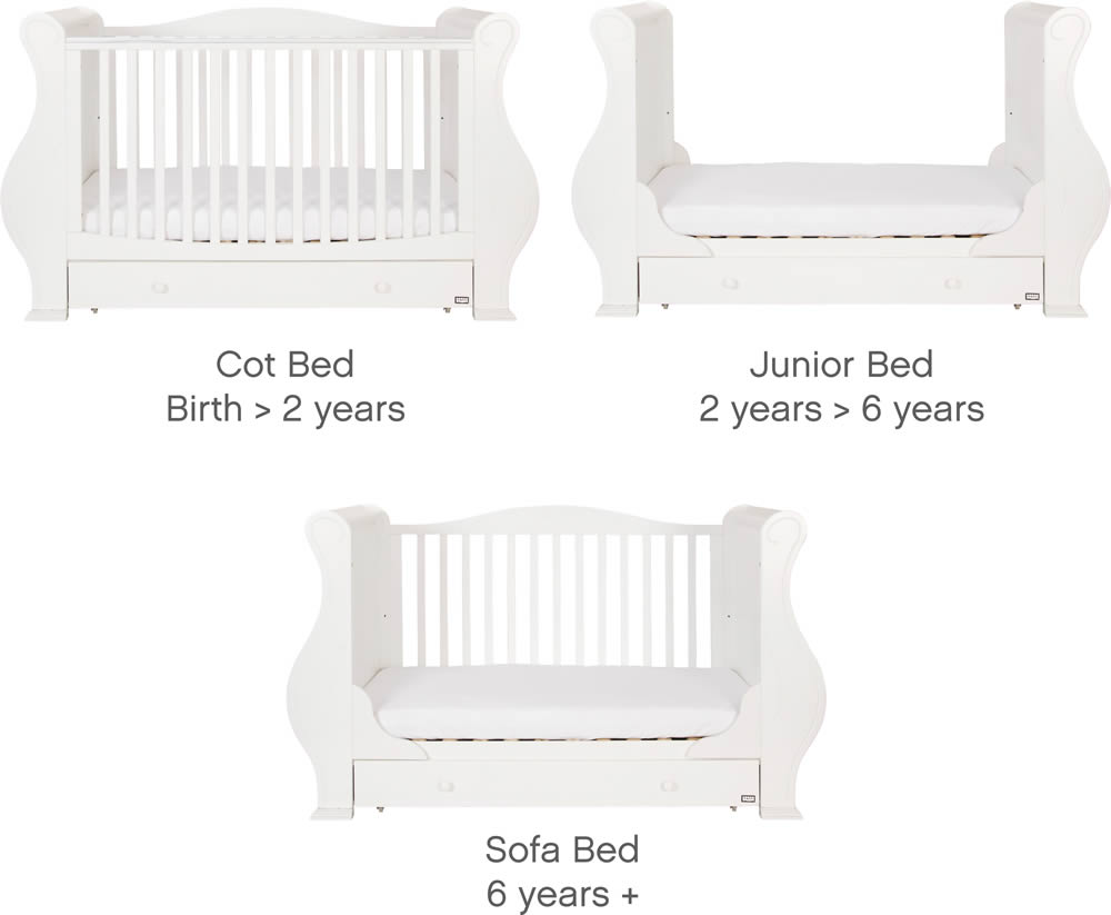 Tutti Bambini Louis White 3 in 1 Deluxe Sleigh Cot Bed