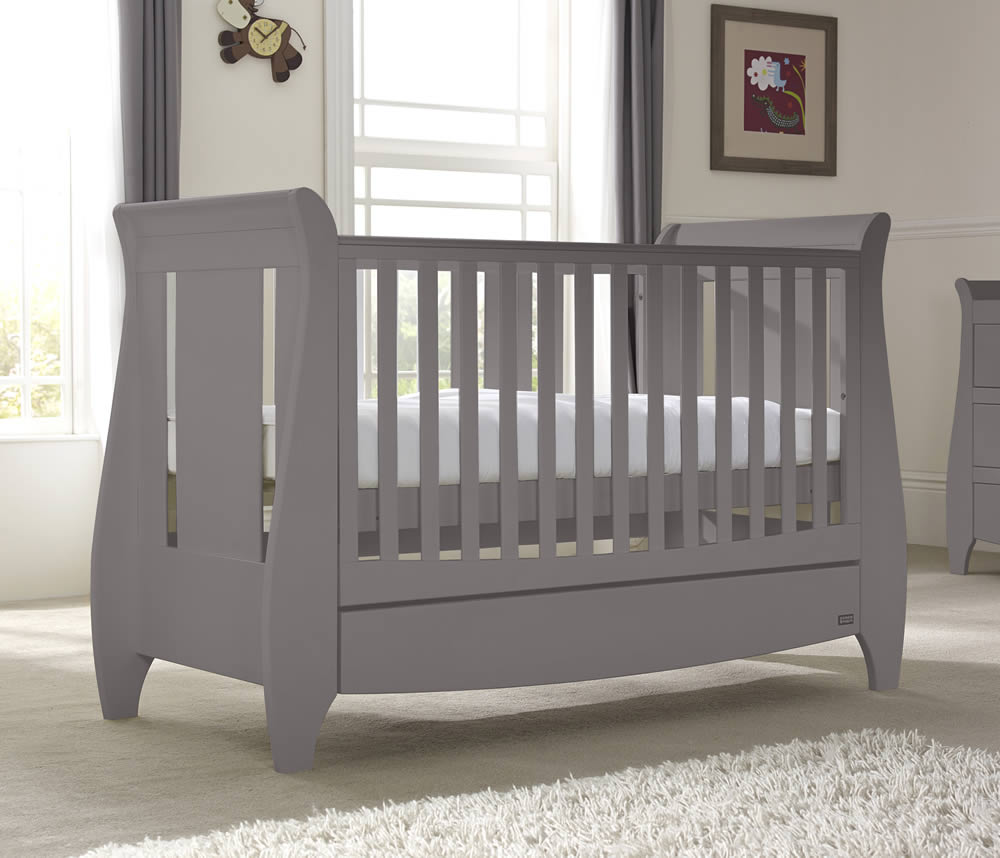 Tutti Bambini Lucas Cool Grey Sleigh 3 in 1 Cot Bed with