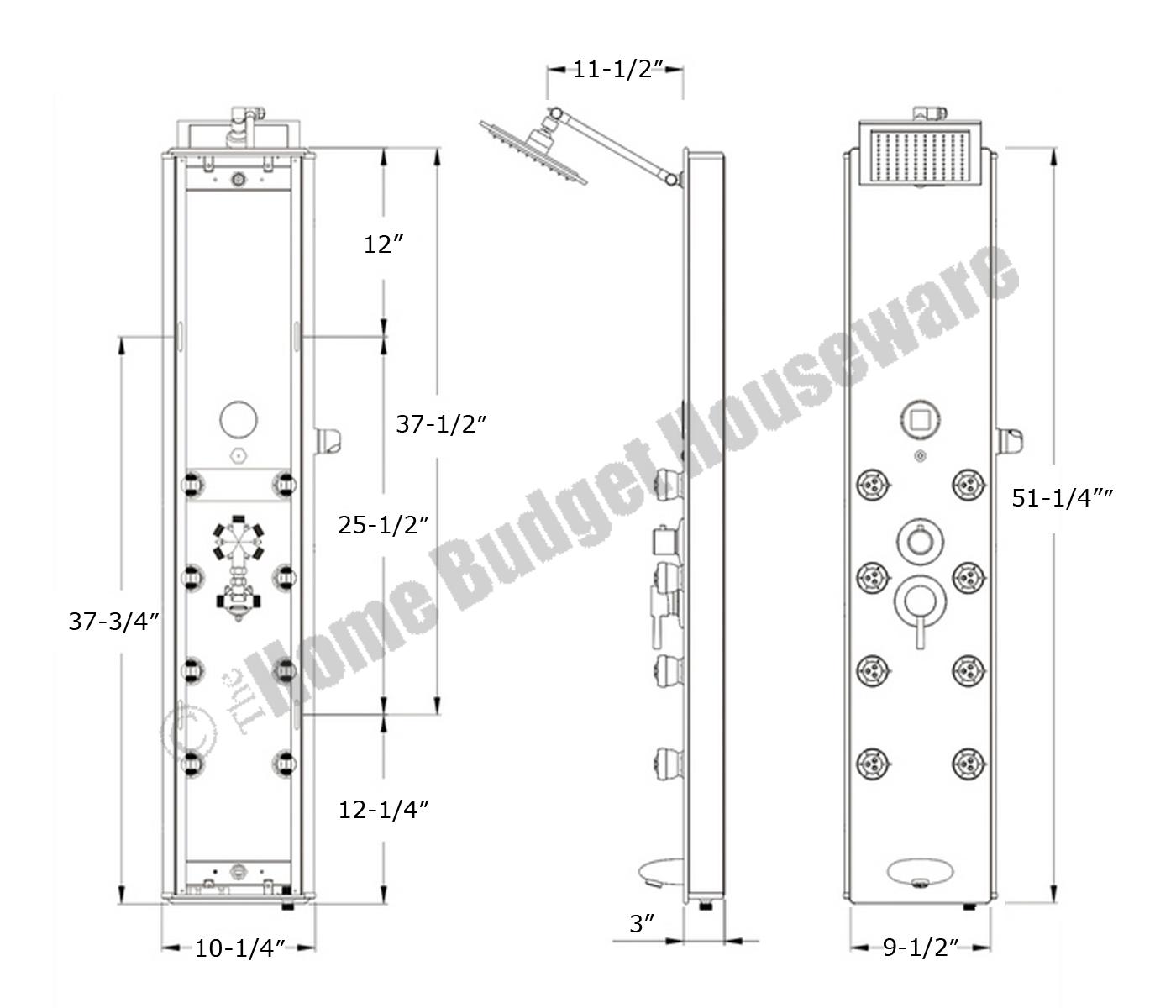 Aluminum Rainfall Shower Panel Tower Tub Faucet Spout 8