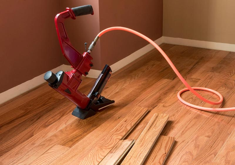 Pneumatic Nailer on hard-wood-flooring