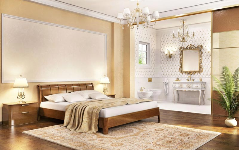 area-rug-with-Dark-Wooden-Floors-in-a-classic-style-bedroom
