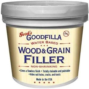 Goodfilla Water-Based Wood & Grain Filler, Stainable, Sandable (Best for Hardwood Floors)