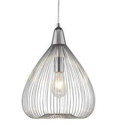 searchlight pumpkin single wire cage ceiling pendant light in chrome pumpkin single wire cage ceiling pendant [ 1000 x 1000 Pixel ]