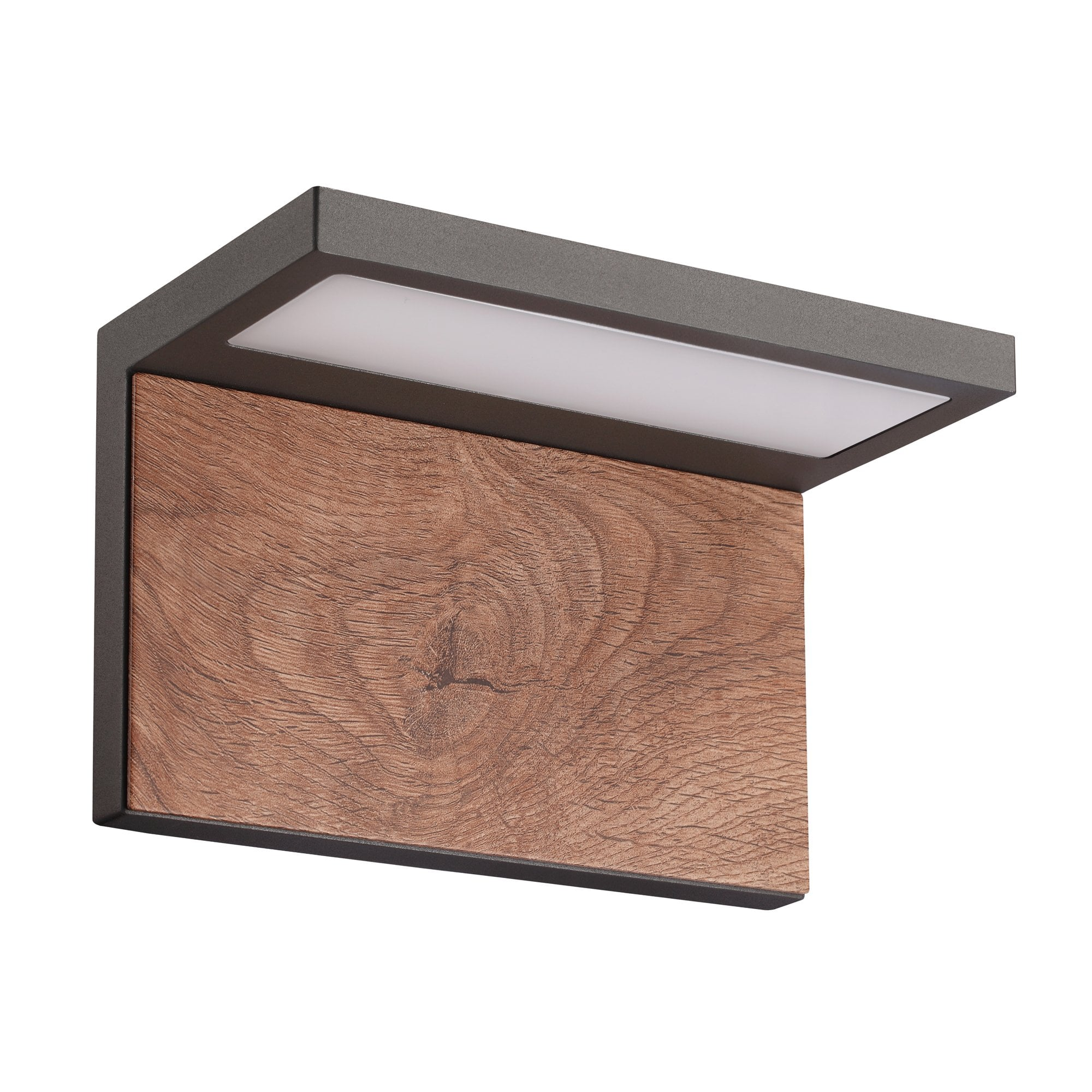 mantra lighting ruka modern outdoor wall light in anthracite and walnut finish ip54 m6770