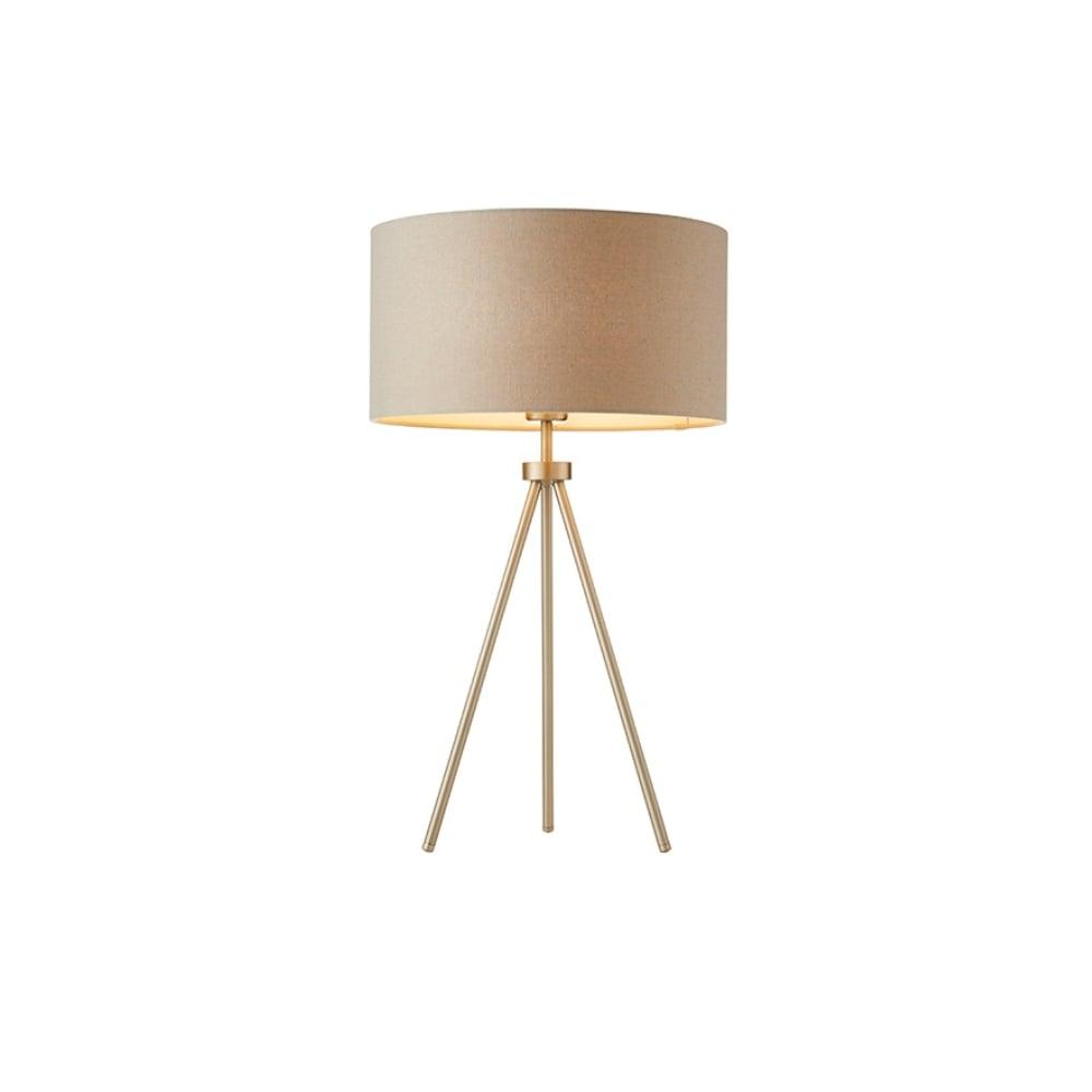 medium resolution of tri grey tripod table lamp in matt nickel finish with grey linen mix shade 66986