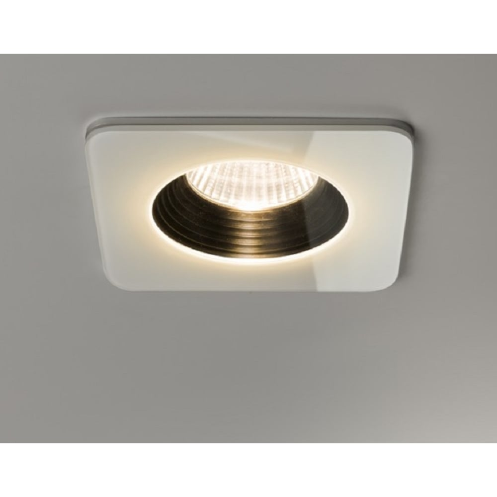 astro contract vetro modern square recessed led downlight in white finish ip65 1254007