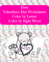 Valentines Day Worksheets: Color by letter/Color by Sight ...