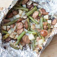 Sausage and Green Bean Grill Packet