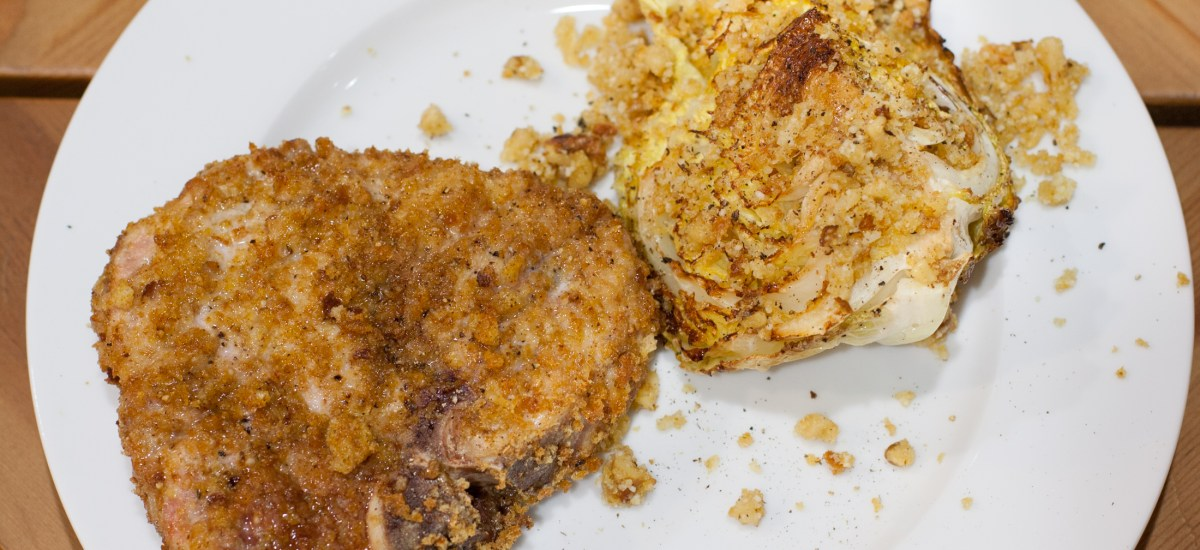 Cheesy Crispy Pork Chops with Roasted Cabbage and Walnut Salsa