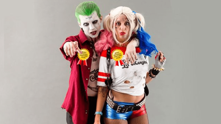 couple dressed as joker and harley quinn wins most. Black Bedroom Furniture Sets. Home Design Ideas