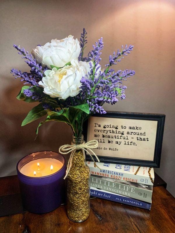 hoppy floral arrangment lavender