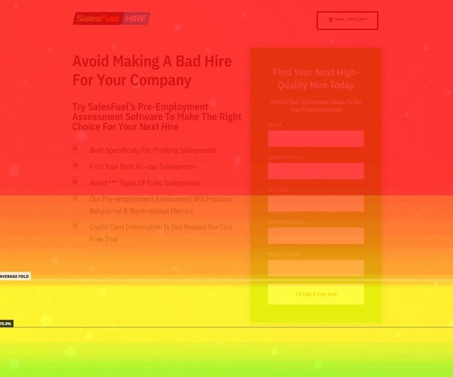 The homepage heatmap of SalesFuel, a hiring company.