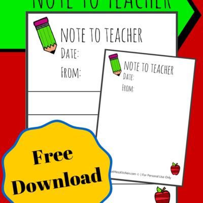Free Printable Note to Teacher
