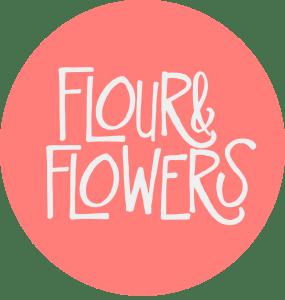 Flour & Flowers Logo (Melon & White)