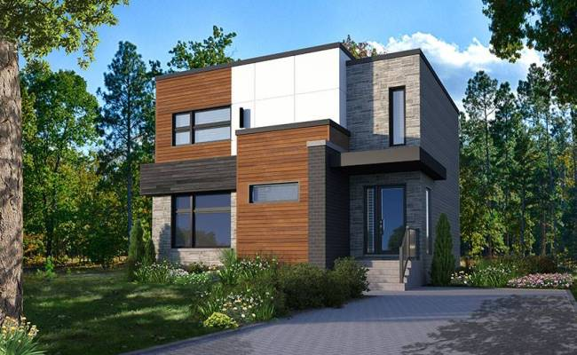 Two Storey Modern Cubic House Plan With Pantry Laundry