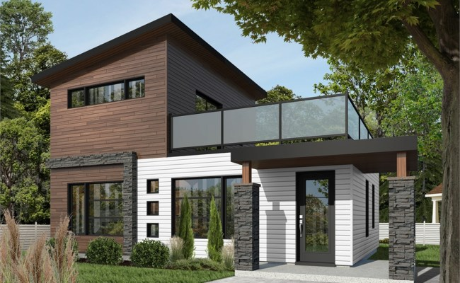 Affordable Modern Two Story House Plan With Large Deck On