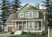 Two-story house plan with three bedrooms