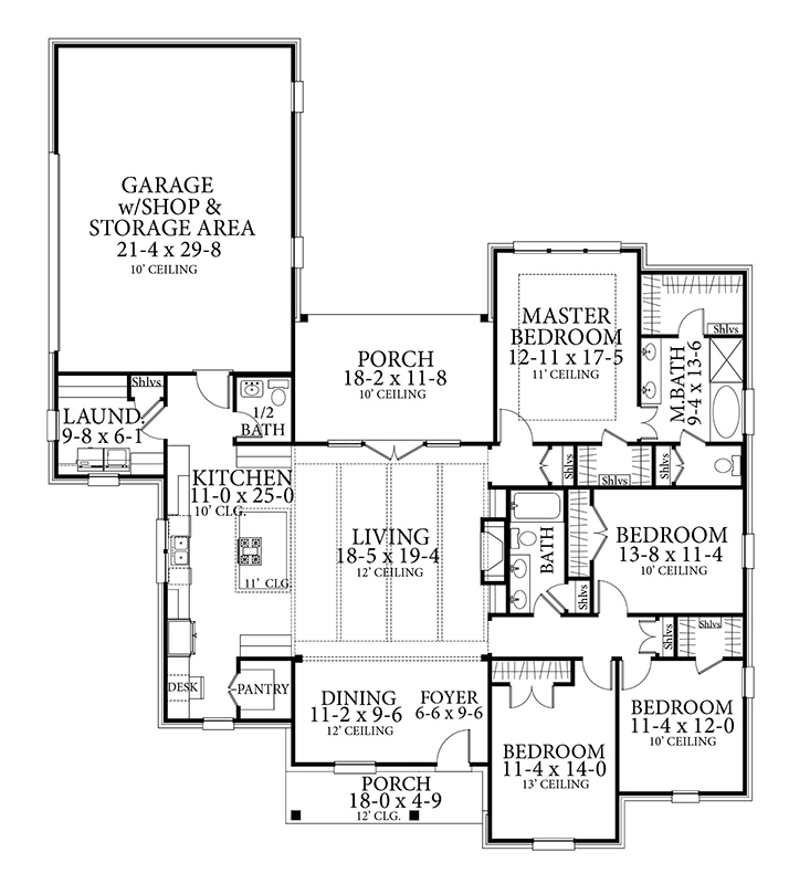 4 Bedroom French Country Style House Plan 6981: Timberstone 4