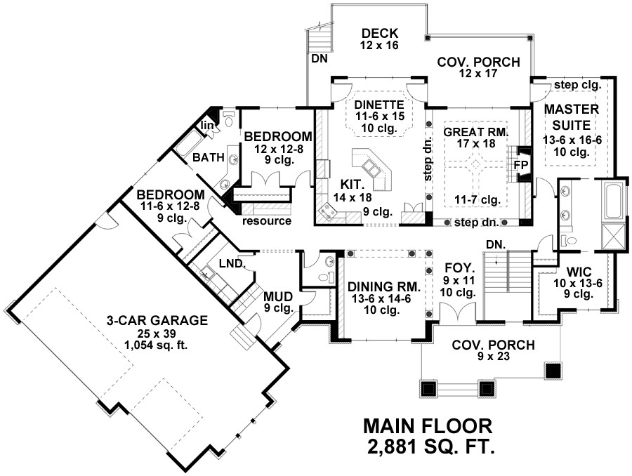 three-bedroom country house plan