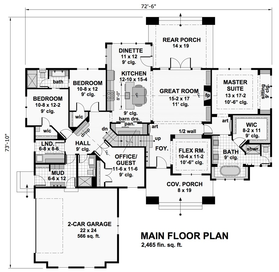 four-bedroom bungalow house plan