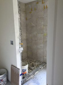 Guest Bathroom, tiling the shower