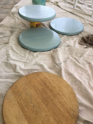 Painting the tops of the stools