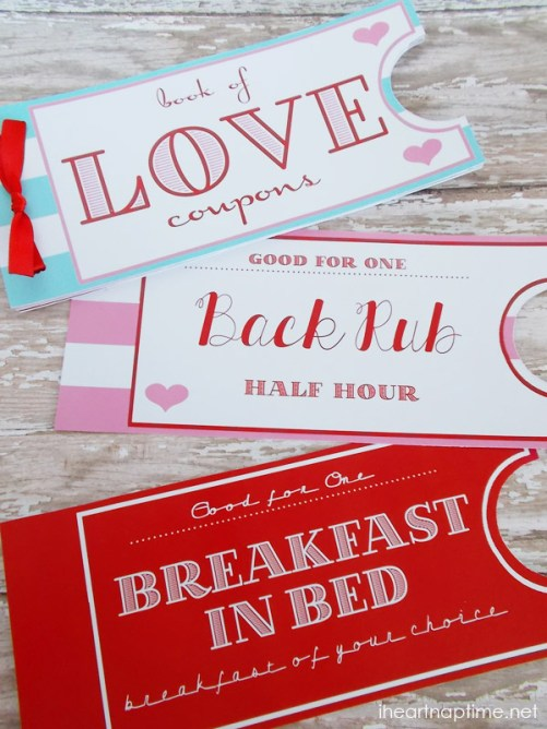 What an adorable and simple gift. Print these Love Coupons by I Heart Naptime for a quick and very appreciated gift.