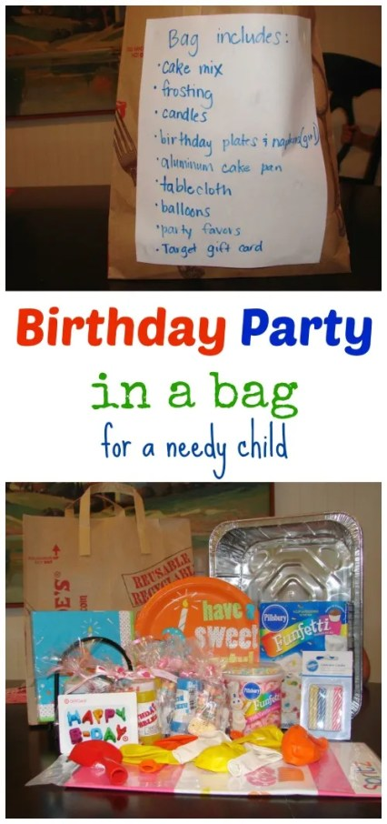 Birthday Party in a bag for a Needy child