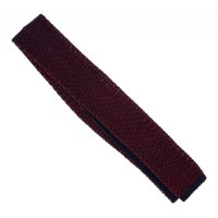 Ascot Navy Blue Knit Tie with Red Pattern - The House of Ties