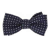 Navy Blue and White Dots The Nines Bow Tie - The House of Ties