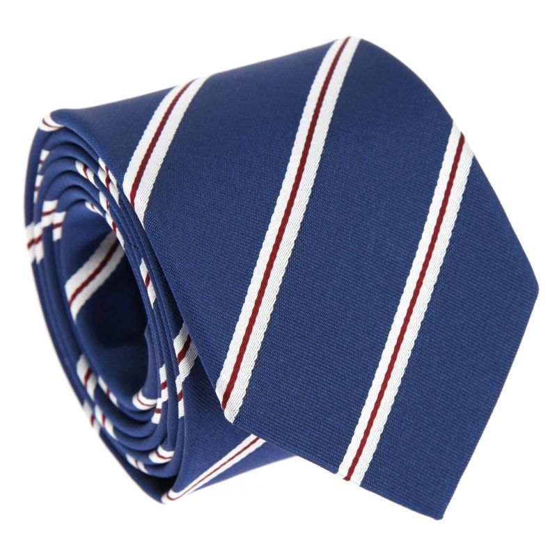 Blue Tie with Red and White Stripes