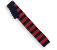 Ascot Navy Blue Knit Tie with Wide Red Stripes - The House ...