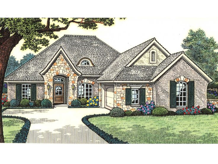 Small european house plans for Cottage house plans with porte cochere