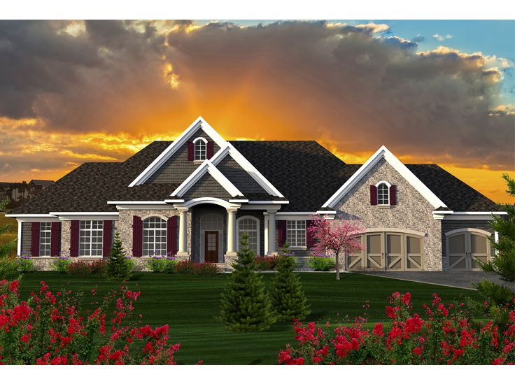 Ranch House Plans European Style Ranch Home Plan # 020H 0353 At