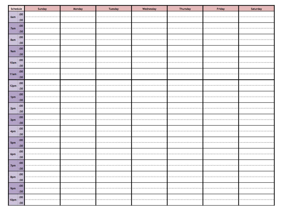 free printable weekly calendar 2015 with time slots