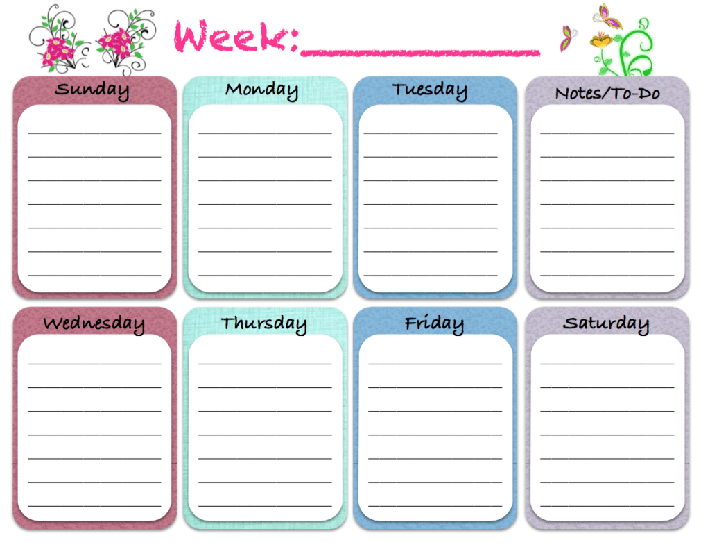 Free Printable: Weekly Calendars, Planners, Schedules ...