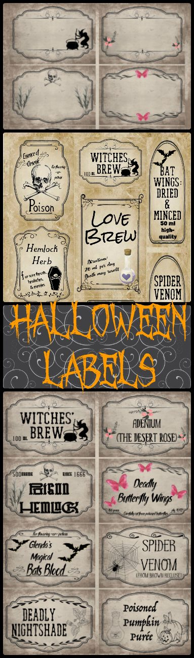 image relating to Free Printable Apothecary Labels named Free of charge Printable Halloween Apothecary Labels