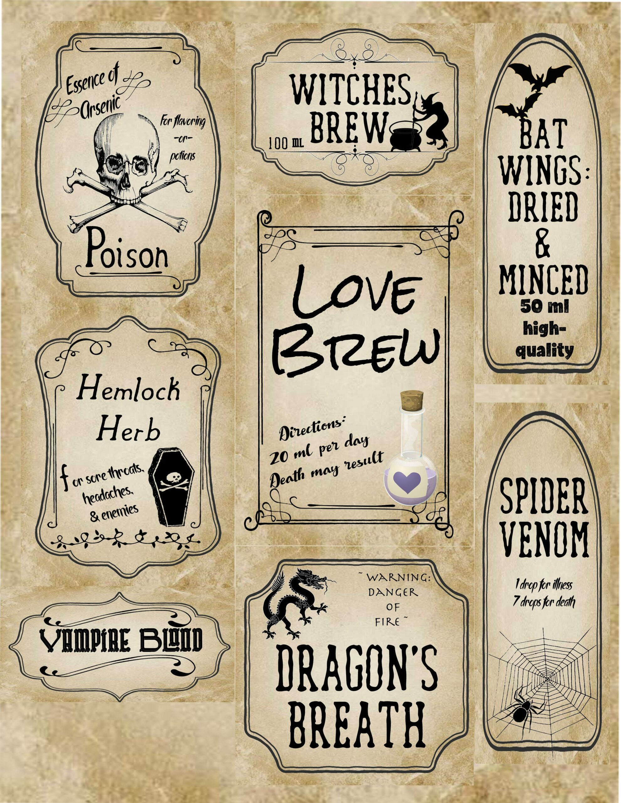 Free Printable Halloween Apothecary Labels 16 Designs Plus Blanks