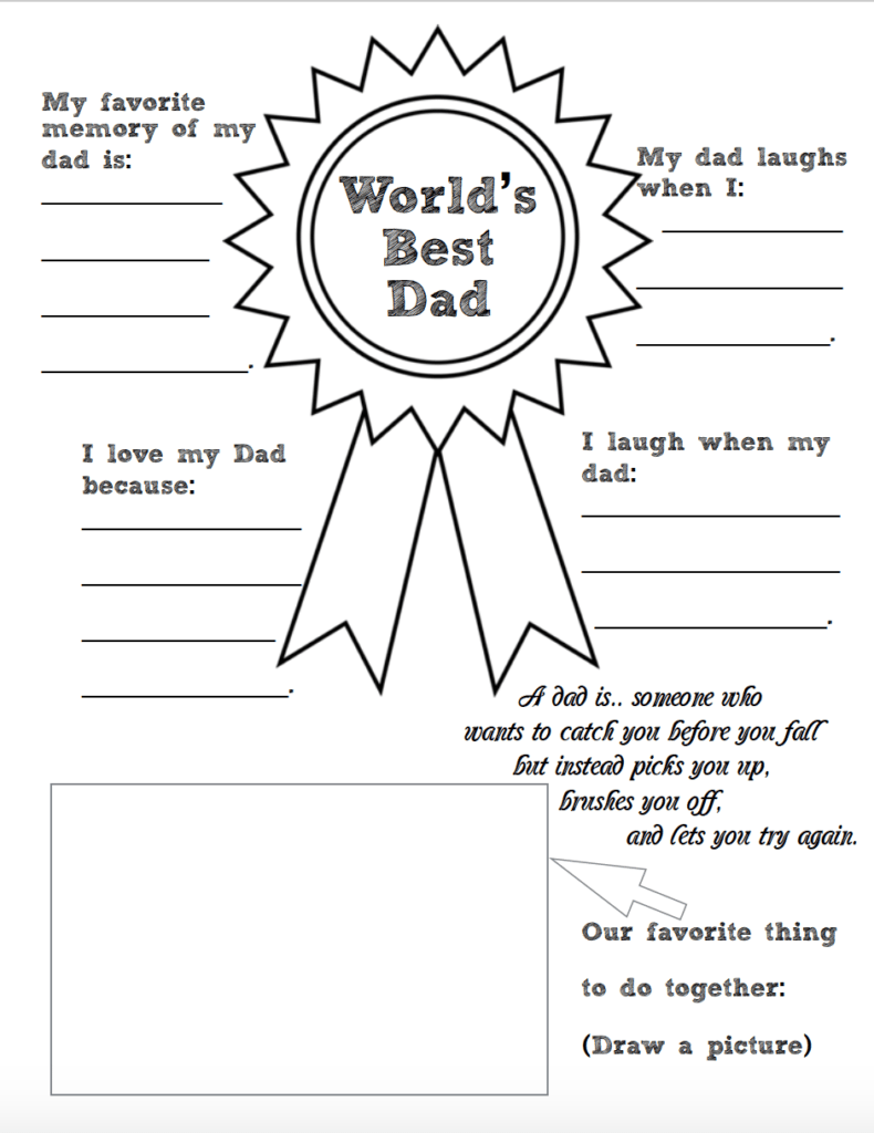 Free Printable Father's Day Coloring Worksheets: 2 designs