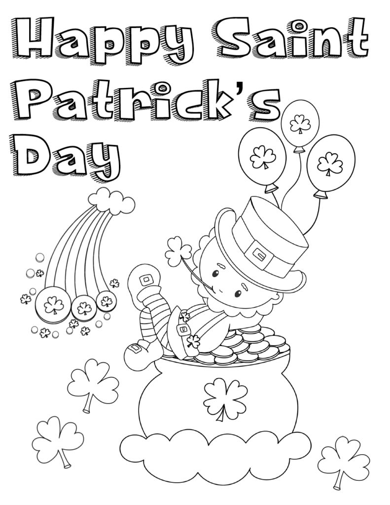 Free Printable St. Patrick's Day Coloring Pages: 4 Designs!