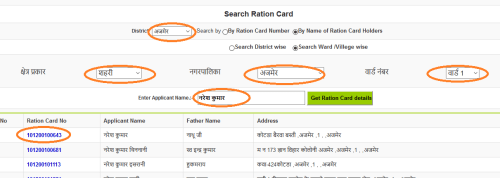 Rajasthan Ration Card List in hindi