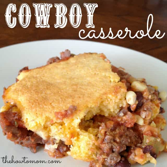 Cowboy Casserole - with a cheesy cornbread topping