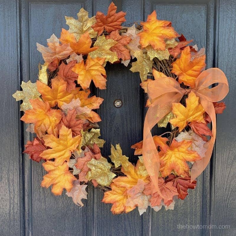 Easy Fall Wreath with Leaf Garland
